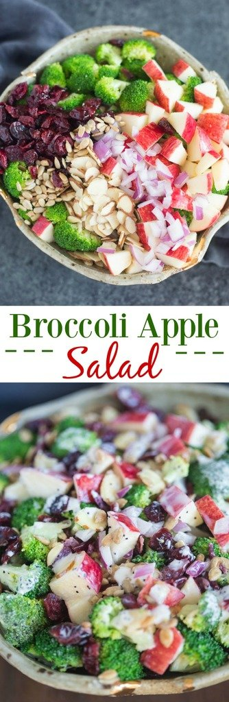 There's so much to love about this creamy, crunchy broccoli apple salad! Fresh broccoli florets, apples, dried cranberries, almonds, sunflower seeds and onion tossed in a creamy poppyseed dressing. | Tastes Better From Scratch