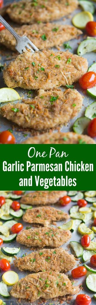 This easy and delicious One Pan Garlic Parmesan Chicken and Vegetables includes tender breaded chicken tenders and fresh seasonal vegetables all roasted on just one pan. An easy dinner recipe your entire family will love! | Tastes Better From Scratch