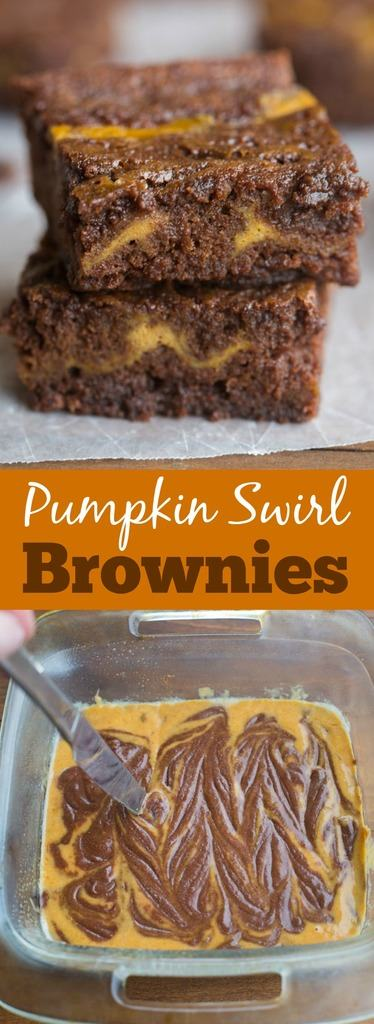 Thick, fudgey homemade brownies (better than a box mix!) with a pumpkin cinnamon swirl. One of the BEST brownies ever! | Tastes Better From Scratch