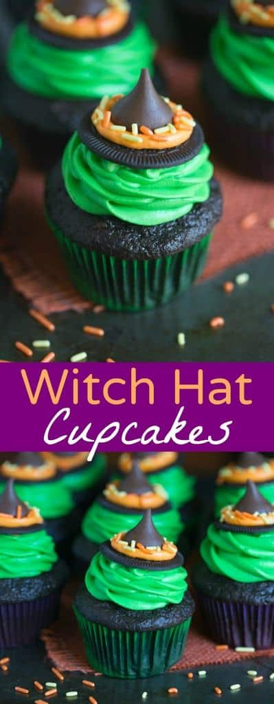 Witch Hat Cupcakes that take just 5 ingredients to make! You kids will love helping you make these fun and easy Halloween cupcakes!   Tastes Better From Scratch