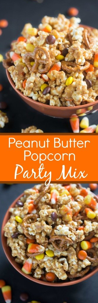 Peanut Butter Popcorn Party Mix is one of our favorite Fall snacks! Fresh popped popcorn coated in a creamy peanut butter sauce. Add some pretzels, reese's pieces and candy corn and you wont be able to stop eating it! | Tastes Better From Scratch