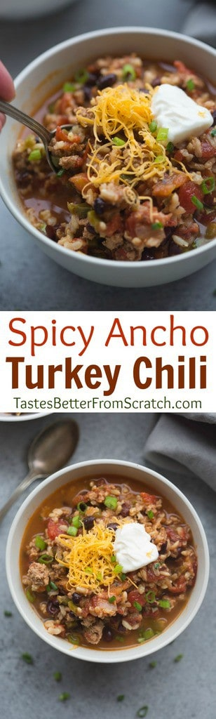 Spicy Ancho Turkey Chili has easily becomes a new favorite chili recipe! It's bursting with bold, spicy flavor, and only takes 30-minutes to make!| Tastes Better From Scratch