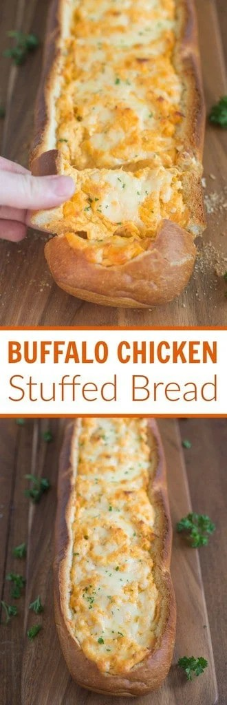 Buffalo Chicken Stuffed Bread – Crusty artisan bread filled with buffalo chicken dip is a perfect party or game day appetizer.  Tastes Better From Scratch