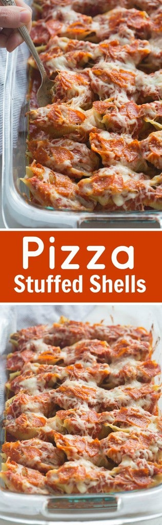 Pizza Stuffed Shells with tender noddles filled with a