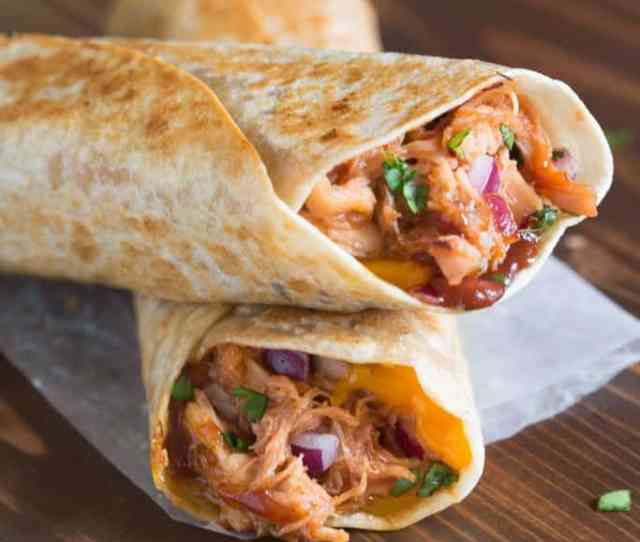 Two Stacked Crispy Bbq Chicken Wraps