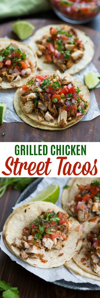 My family goes crazy for these grilled chicken street tacos, and I love how EASY they are to make! Marinated chicken thighs are grilled to perfection and served with warmed corn tortillas, pico de gallo, and cilantro. | tastesbetterfromscratch
