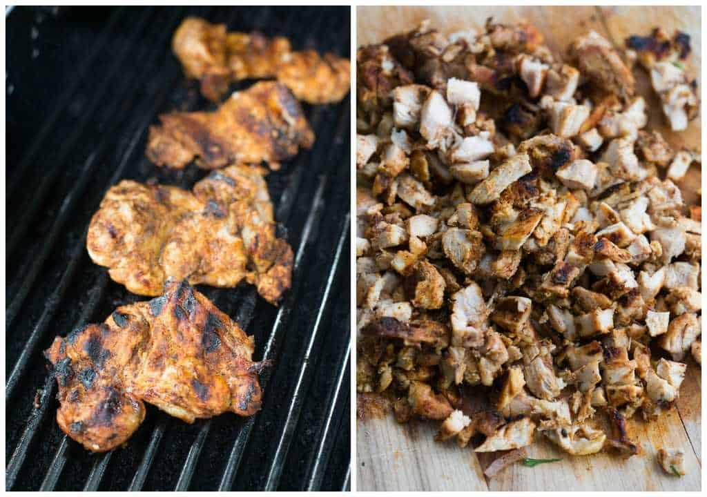 Grilled chicken thighs are marinated in a simple mexican flavored marinade and diced for grilled chicken street tacos. | tastesbetterfromscratch