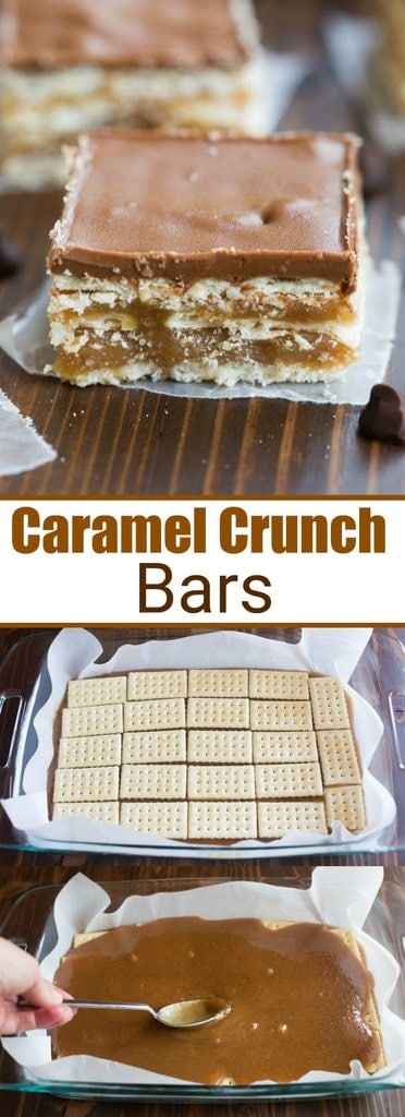 These Caramel Crunch Bars, with layer upon layer of delicious sweet, salty, caramel goodness, are one of my favorite easy no-bake desserts! | tastesbetterfromscratch.com
