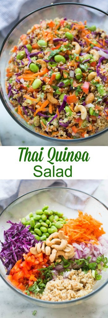 Quinoa tossed with a medley of fresh, crunchy veggies and drizzled with a delicious peanut sauce. Everyone always loves this fun and delicious and easy Thai quinoa salad. | tastesbetterfromscratch.com