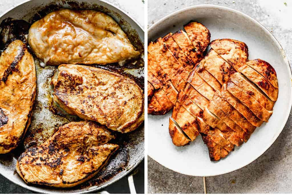 Chicken grilling in a skillet next to another photo of the chicken sliced into pieces and served on a plate.
