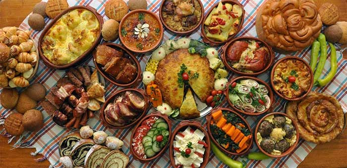 Serbian delicious food on the table