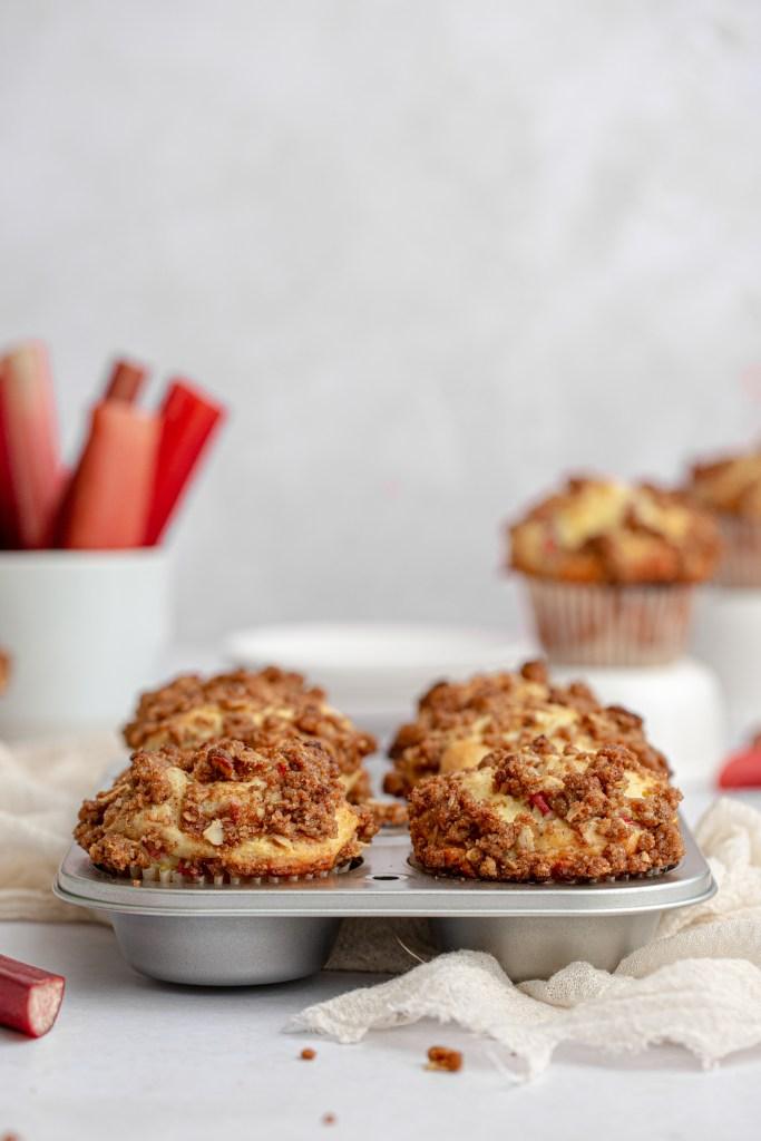 tin of rhubarb streusel muffins