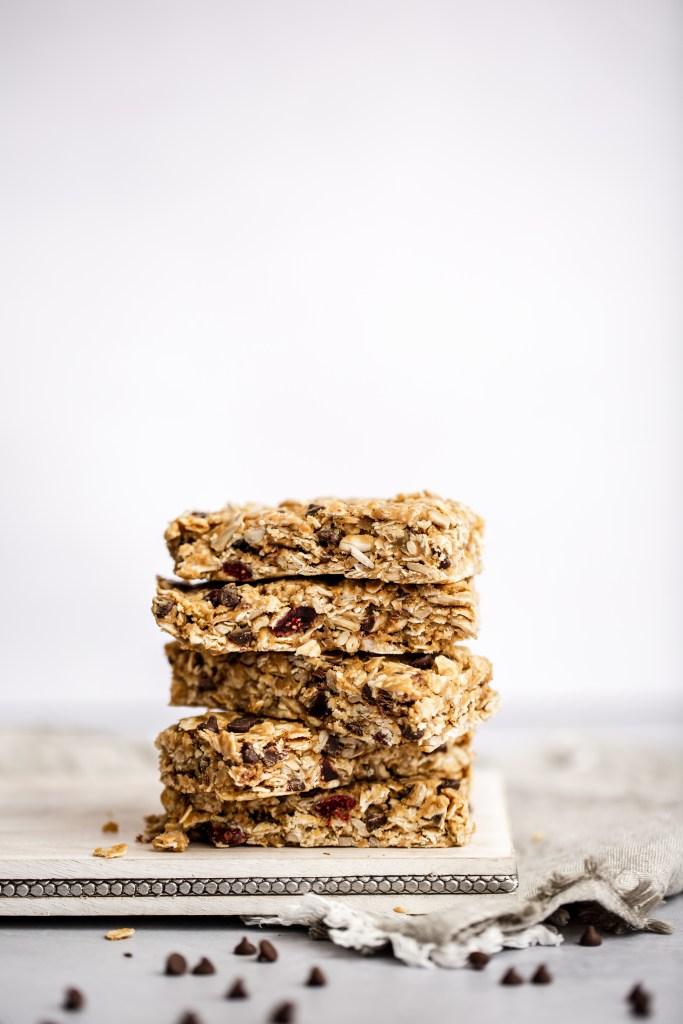 stack of no bake granola bars
