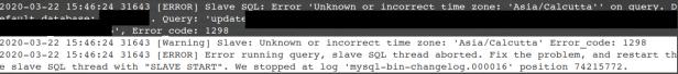 MySQL error code: 1298 Slave Unknown or incorrect timezone.
