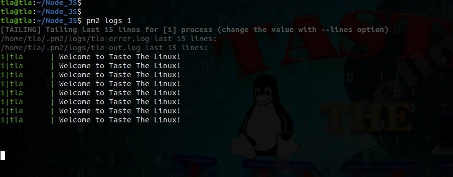 pm2 commands node list for logs by ID