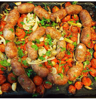 Roasted Tuscan sausages with tomato, fennel and basil