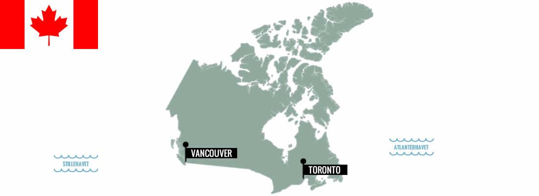 Canada. Kokkeskoler, madvandringer og markeder