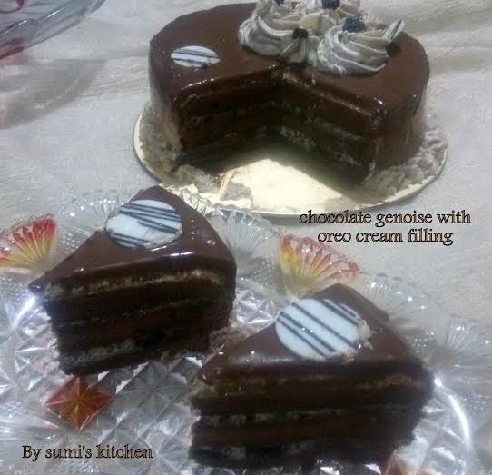 Chocolate Genoise with oreo cream filling