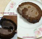 Chocolate ice cream roll cake