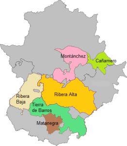 Subzonas de la DOP Ribera del Guadiana