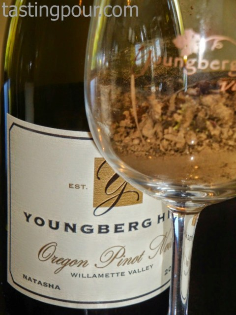 Natasha Block Pinot Noir and soil sample of terroir from Youngberg Hill Vineyards and Inn