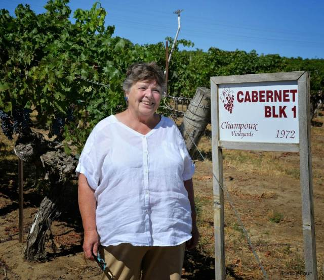 Linda Mercer with the first Cabernet Sauvignon vines planted in Horse Heaven Hills Washington State
