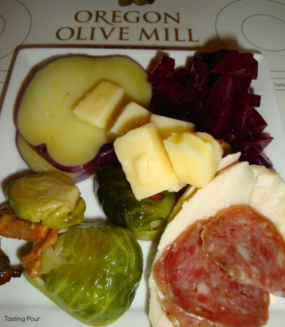 Roasted vegetables, meats and cheese drizzled with Oregon Olive Mill olive oil