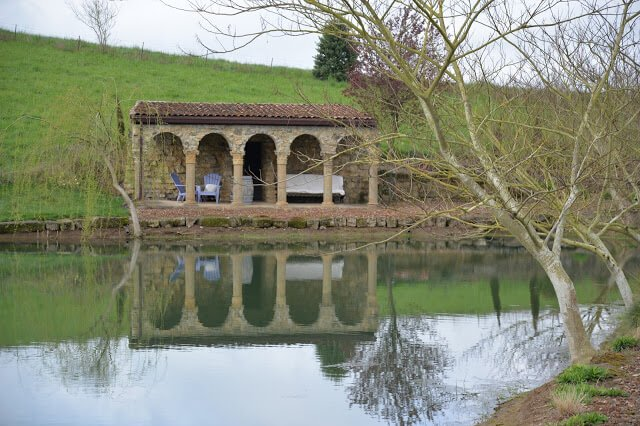 "Pond and ""ruins"" at Villa Catalana Cellars in Willamette Valley"