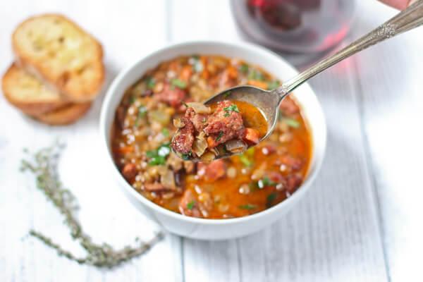 smoked sausage lentil soup
