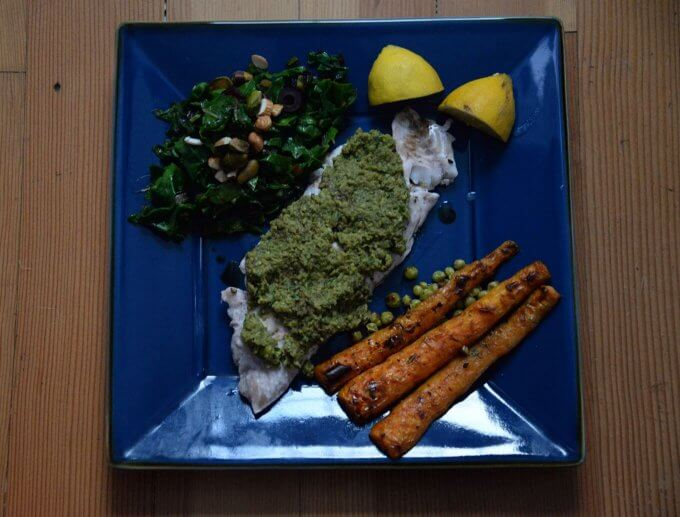 Sweet Pea Pesto on Rock Fish