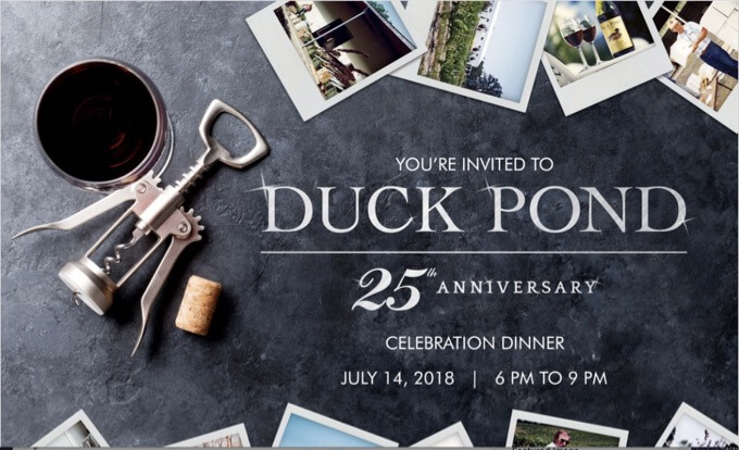 Duck Pond 25th Anniversary Celebration Dinner