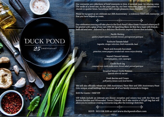 Duck Pond 25th Anniversary Menu