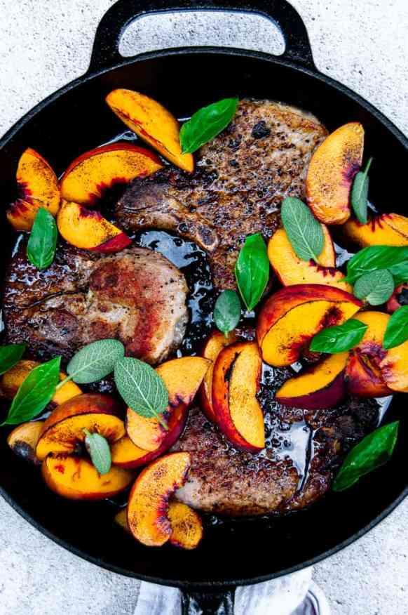 Bourbon Balsamic Glazed Pork Chops and Peaches Skillet
