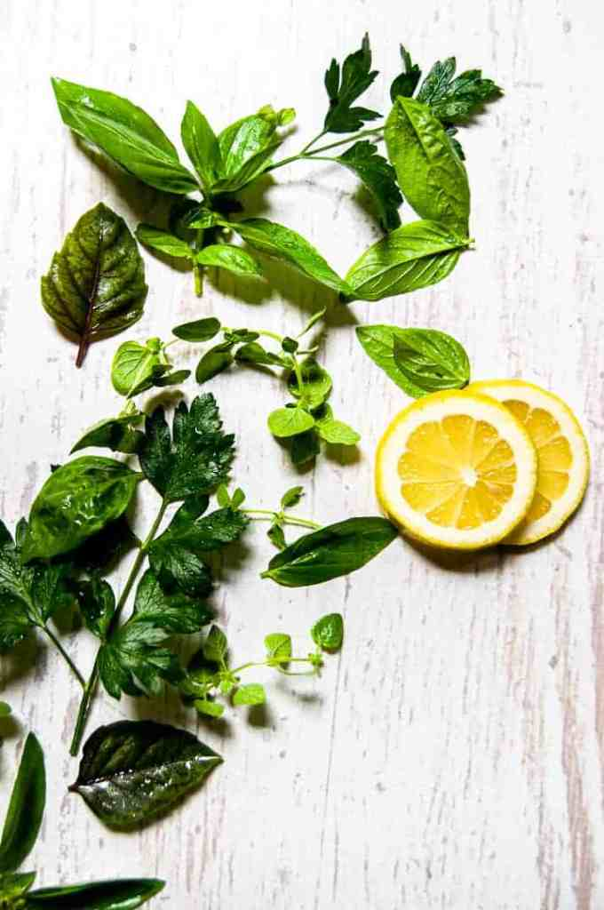 Fresh Herbs and Lemon Slices