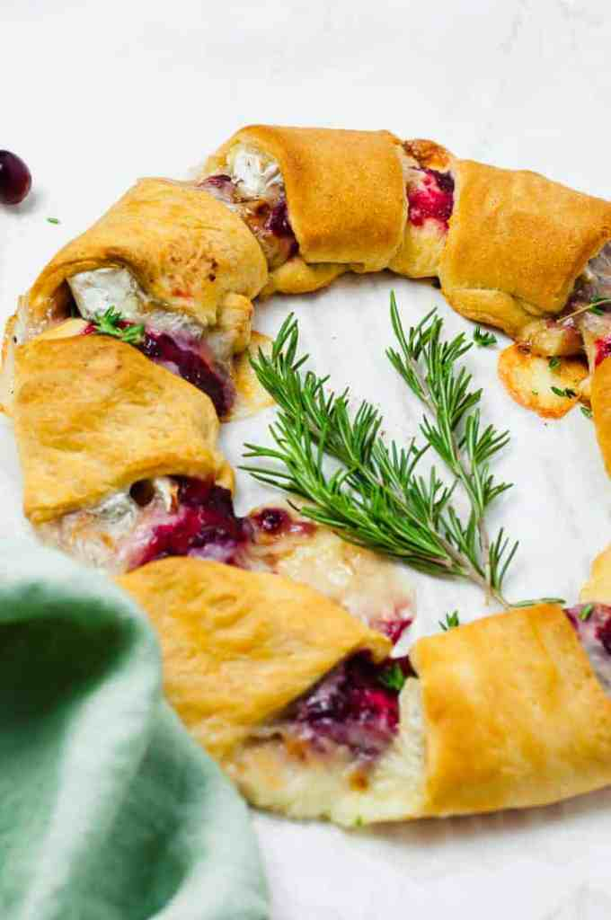 Cranberry Brie Crescent Holiday Wreath