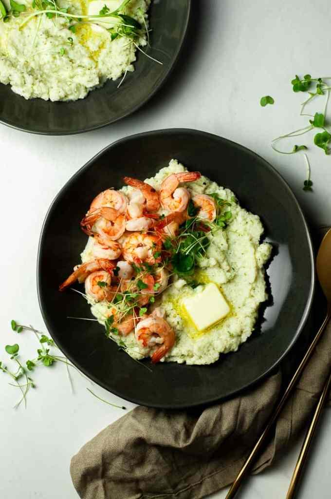 Shrimp and mashed cauliflower