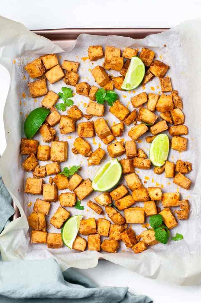 Crispy tofu on a tray