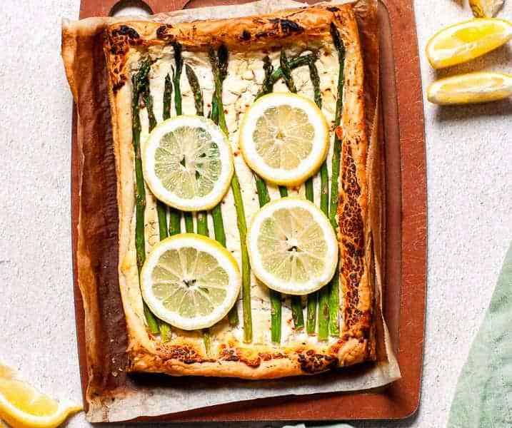 Easy Lemon, Asparagus, and Whipped Goat Cheese Tart