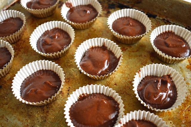 chocolate fudge and pumpkin cups