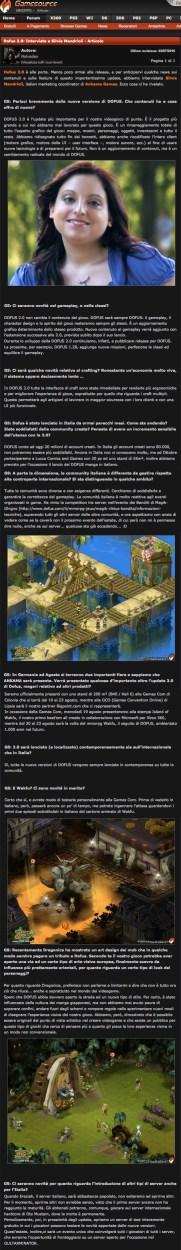«Dofus 2.0: Intervista a Silvia Mandrioli» (Gamesource press interview, Italian Marketing Coordinator, Ankama, 2010)