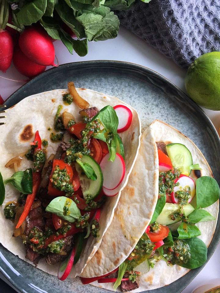 Soft taco's Beef chimichurri