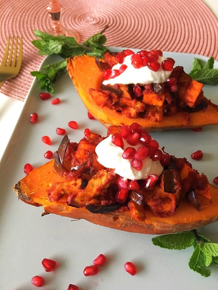 Zoete aardappel met Marokkaanse topping (V)