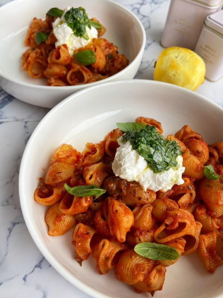Pasta met Ricotta en Citroen-Basilicum Pesto