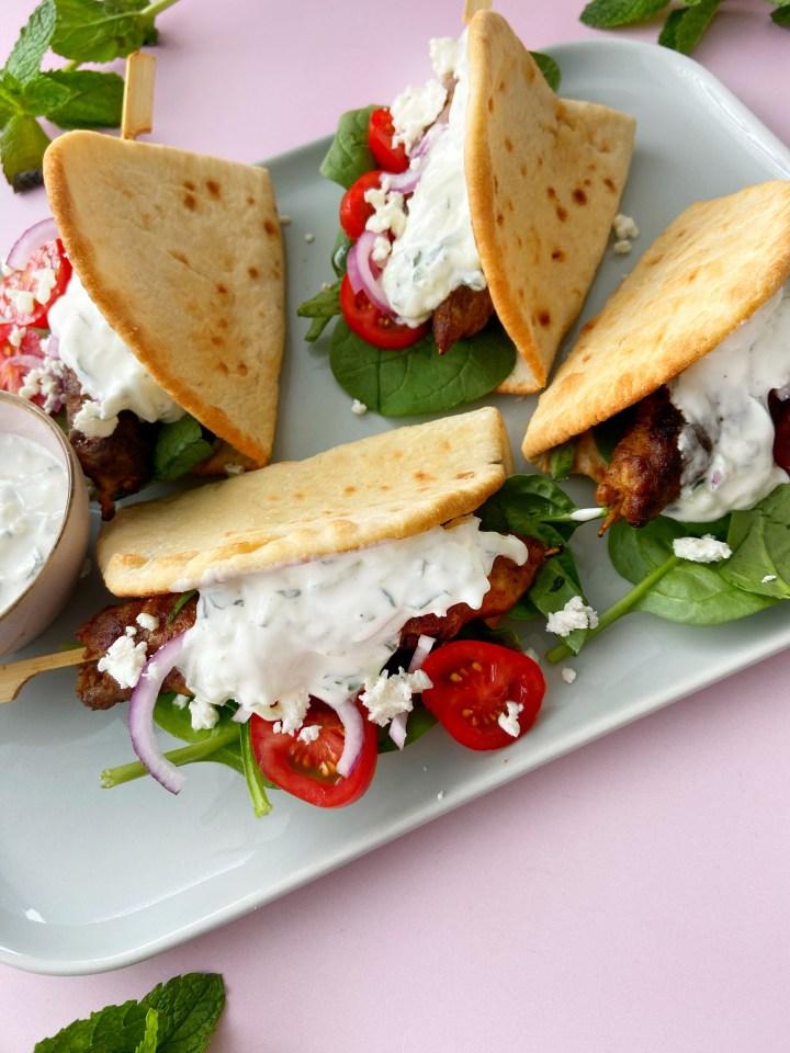 Kebab spiesjes met Babyspinazie en Feta
