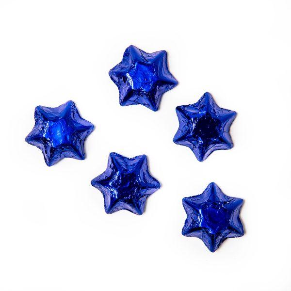 5 blue foil wrapped milk chocolate stars.