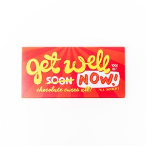 """Add a Bloomsberry 100g """"Get Well Soon"""" milk chocolate bar to your bouquet."""