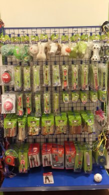 toys, leashes, collars, tools