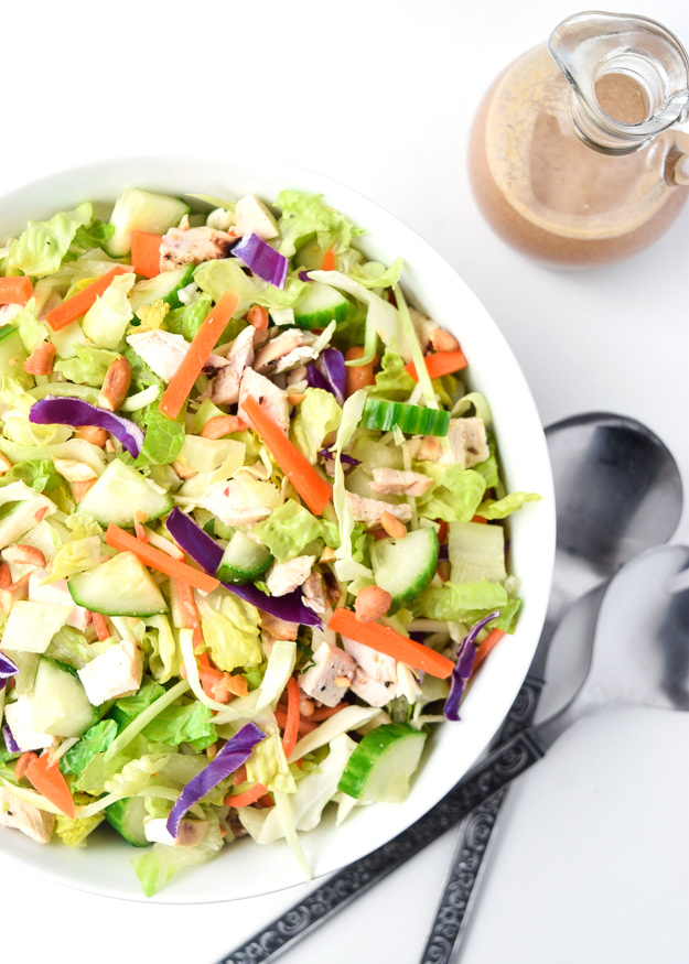 Thai Chicken Chopped Salad (Whole30 Paleo) - Crunchy veggies, chicken, and a sweet and tangy lime dressing combine for a tasty and satisfying meal.  Whole30 approved! | tastythin.com