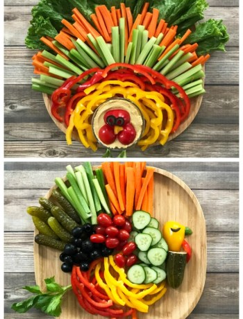 How to Make a Thanksgiving Turkey Veggie Platter - bring some fun to your Thanksgiving menu with these cute turkey veggie platters!   tastythin.com