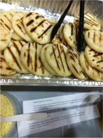 Venezuelan arepas: tortillas made of ground cornmeal and stuffed with a savory filling